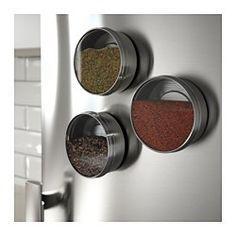 IKEA - GRUNDTAL, Behälter, Durch die magnetische Unterseite haften die Behälter auf Metallflächen (nicht für GRUNDTAL Magnetleiste geeignet).Dank des durchsichtigen Deckels ist der Inhalt leicht zu erkennen.Praktisch z.B. für Gewürze; schafft Platz auf der Arbeitsfläche.
