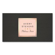 Sophisticated and glamourous, this retro inspired business card is perfect for entertainment professionals whether it be an an event coordinator, fashion stylist or freelance makeup artist. Digital image of gold foil square frame emblem and subtle starburst (not real gold foil) blush pink and charcoal black colour scheme. Three gold stars accent.
