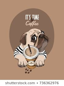Pug Dog in a striped cardigan and with a plastic cup of a coffee. Vector illustr… Pug Dog in a striped cardigan and with a plastic cup of a coffee. Cute Pug Puppies, Black Pug Puppies, Cute Dogs, Pug Art, Dog Wallpaper, Pug Love, Cute Cartoon, Best Dogs, Cute Animals