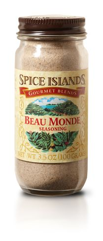 Beau Monde Seasoning ------------- A blend of Celery, Onion and Salt, this all-purpose spice is one of the most versatile spices for meat, seafood, veggies, eggs, dips, and pasta.