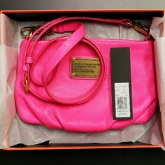 MBMJ Classic Q Percy bag in Ultra Pink - neon This statement bag is not for the faint of heart! It is a bright neon pink--much brighter in person than in photos. The strap is removeable and adjustable. It is in pretty good condition but has some stains, which you can see in pics 2&3. It's hard to see the stains on the back b/c of the color and pebbled leather but it has some darker spots from jeans rubbing off on it. I do have a gift box and original tag! Please see other listing for addtnl…