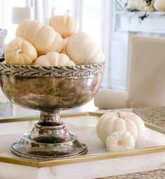 ideas for decorating the family room & mantel using white pumpkins, crows, butterflies Halloween Buffet, Halloween Mantel, Halloween Crafts, Holoween Decorations, Classy Halloween, Thanksgiving Table Settings, Autumn Decorating, White Pumpkins, E Design