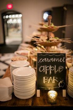 caramel apple bar for fall wedding reception reception food 20 Trending Fall Wedding Reception Ideas for 2020 - Oh Best Day Ever Wedding Reception Ideas, Wedding Planning, Wedding Catering, Wedding Favors, Catering Events, Reception Party, Catering Services, Wedding Receptions, Wedding Invitations