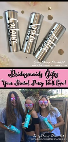 Searching for the best bridesmaid gifts ever? Our bridesmaid gift is also a unique way to thank bridesmaids for the morning of your wedding. Best Bridesmaid Gifts, Personalized Bridesmaid Gifts, Bridesmaids, Bachelorette Party Gifts, Bridal Party Shirts, Teachers Day Gifts, Gifts For Kids, Etched Mason Jars, Thermal Flask