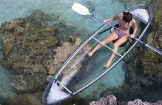Glass-bottom kayak is a pretty awesome idea.
