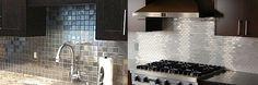 stainless steel mosaic tile backsplash with dark cabinets