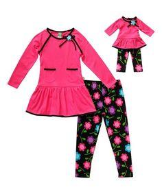 Look at this #zulilyfind! Pink & Black Floral Leggings Set & Doll Outfit - Toddler & Girls #zulilyfinds