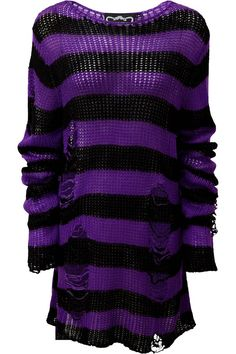 Wonka Knit Sweater [B] | KILLSTAR Channeling some 90s grunge with the 'Wonka' soft-knit sweater, perfect for layering - or wear as a statement piece. Contrasting black and violet striped body with extra long length so can easily be dressed up or down, with distress detailing and low neckline. Ideal for festivals, midnight promenades with the moon and hungover Sundays.