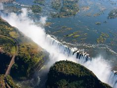"""A scenic aerial adventure is the best way to capture the essence of the world's largest waterfall. The ride is also known as the """"Flight of Angels,"""" proving you're destined to see something miraculous. All Nature, Nature Images, Best Places To Travel, Places To Go, Sri Lanka, Best Helicopter, South Africa Tours, Chobe National Park, Victoria Falls"""