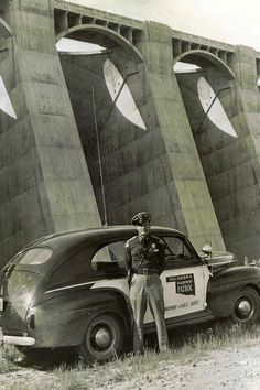 1940's Oklahoma Highway Patrol unit below Pensacola Dam (Grand Lake)