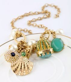 Gold And Light Blue Chain Necklace  - New In