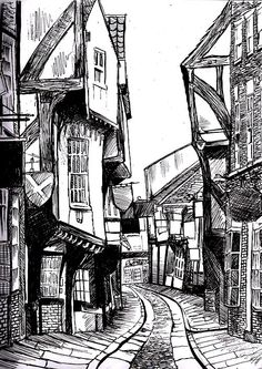 1116577770: The shambles, York ink, fineliner - drawing in...