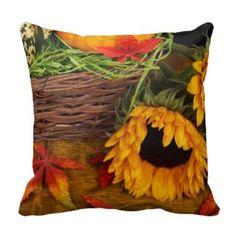 Fall Harvest Sunflowers Throw Pillows