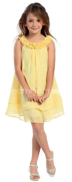 Amazing A-line Scoop Short/Mini-length Flowers Embellishing Flower Girl Dress
