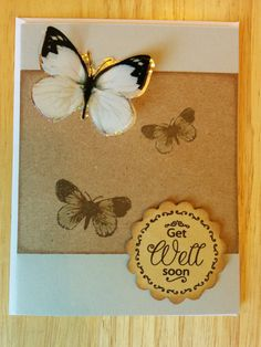 Get Well Soon Card with Butterflies by Cindysnoopy on Etsy, $3.50