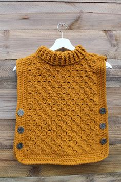 Time Traveler Tunic: Crochet Tunic Baby Toddler Child Buttoned Poncho turtleneck cowl Keep her cozy with this ribbed cowl buttoned tunic, in any color! Inspired by our little girl and the urge to make time stand still. The Time traveler's tunic is pe Baby Sweater Patterns, Crochet Poncho Patterns, Crochet Tunic, Baby Knitting Patterns, Crochet Clothes, Knit Crochet, Patron Crochet, Baby Pullover Muster, Baby Hoodie