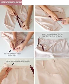 coser-cremallera-pantalones Sewing Pants, Sewing Clothes, Diy Clothes, Sewing Projects For Beginners, Sewing Tutorials, Sewing Tips, Dress Sewing Patterns, Clothing Patterns, Make Your Own Clothes