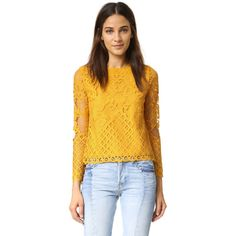 ENGLISH FACTORY Lace Blouse (3,790 INR) ❤ liked on Polyvore featuring tops, blouses, sheer blouse, keyhole blouse, yellow top, long sleeve blouse and yellow blouse