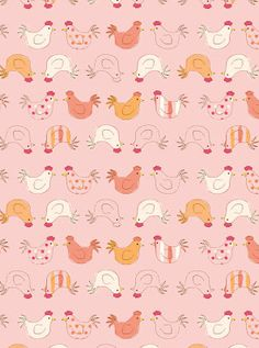 I like this rooster print. It would make a cute apron! Pretty Patterns, Shape Patterns, Fun Patterns, Cute Pattern, Pattern Art, Motifs Roses, Easter Wallpaper, Gift Wrapper, Cute Illustration