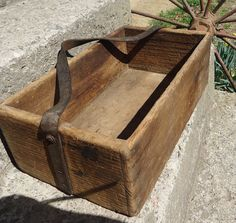 Large Handmade Wooden Tool Box with Leather by MushMonkeyVintage