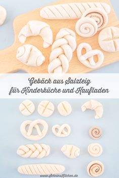 Pastry made from salt dough for children's kitchens and shops - Schnin's Kitchen-Gebäck aus Salzteig für Kinderküche und Kaufladen – Schnin's Kitchen Make pastries from salt dough quickly and cheaply … - Diy For Kids, Gifts For Kids, Great Gifts, Childrens Kitchens, Salt Dough, Bread Rolls, Kids Playing, Baked Goods, Diy Gifts