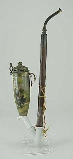629: Rabbit Hunters Antique German 19thC Porcelain Pipe : Lot 629
