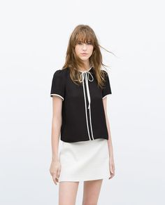 ZARA - WOMAN - TOP WITH CONTRAST PIPING AND NECK TIE