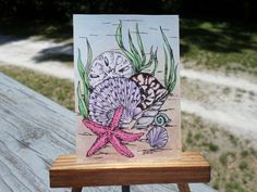 Original Art card ACEO painting mixed media Sea Shells aceo18