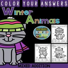 Winter Math: Winter Fun! Winter Animals Addition Facts - Color Your Answers Printables for Winter Addition, perfect for winter time in your classroom. #TPT $paid #FernSmithsClassroomIdeas