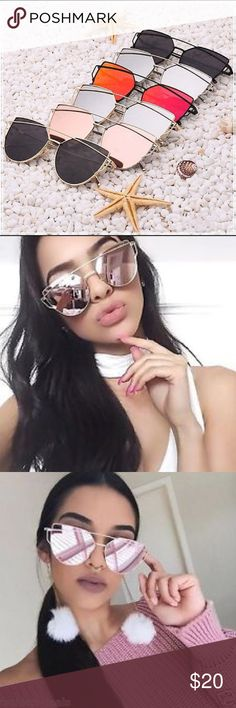 Trendy Mirrored Cat Eye Sunnies ✨😎 These trendy glasses are so sexy on makes any outfit look bomb 💣. They come in many different colors . If interested comment with what colors you were interested in as I have to place orders with my distributor and once I receive them than you may purchase your own listing I create for you. BRAND USED FOR EXPOSURE.💕 Nasty Gal Accessories Glasses