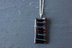 Striped Glass Pendant Dark Plums and Purple by GlassJewelleryByJ