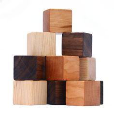 Wood Toy Blocks, eco friendly baby toy with gift bag 15= manzanitakids    12 building blocks  maple cherry walnut
