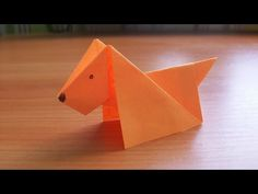 DIY How to Make An Easy Paper DOG. Origami Tutorial for Kids and Beginners. DIY How to fold a paper dog. Toys and paper crafts for children. An easy and interesting origami for beginners. Detailed step by step tutorials and instructions for creating Origami Design, Diy Origami, Origami Simple, Easy Origami For Kids, How To Make Origami, Useful Origami, Paper Crafts Origami, Paper Crafts For Kids, Origami Folding