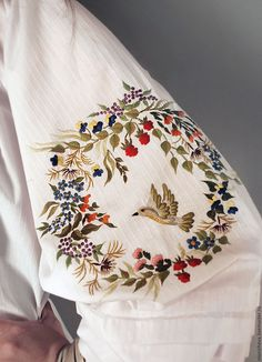 """Buy and order embroidered white blouse """"bird land"""" hand embroidery on Livemaster online shop. Shipped over Russia and the CIS. Production time: 1 month <br />. Materials: italian cotton, hand embroidery,…. Dimensions: under the order <br />"""