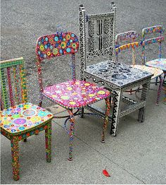 Handpainted whimsical chairs by June McCloskey. / Nikon Coolpix point and shoot camera. / For wonderfully unique chairs or a little table, send inquiries by RB Mail. / - The Artist – June McCluskey Hand Painted Chairs, Funky Painted Furniture, Paint Furniture, Upcycled Furniture, Furniture Makeover, Cool Furniture, Painted Tables, Antique Furniture, Furniture Design