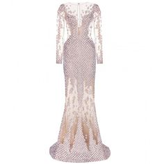 Zuhair Murad Sequinned Silk-Blend Mesh Gown (10,975 CAD) ❤ liked on Polyvore featuring dresses, gowns, long dresses, vestidos, pink gown, sequin mesh dress, pink evening gowns, sequin ball gown and mesh dress