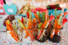 individual crudite appetizer, 2 different dressings/options, via the sweetest occasion