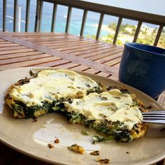 """SPINACH OMELETTE ⠀ So i made a Spinach (150g) Omelette (1whole/3egg whites) topped with Yogurt & Mustard sauce (1Tbps Greek yogurt 0%/1tsp Mustard).. But of course couldn't starting my day without a Coffee☕️! Amazing breakfast with amazing view all you need!"
