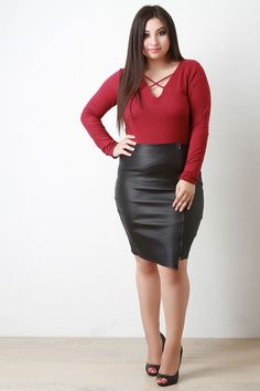 Asymmetrical Vegan Leather Midi Skirt