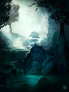 World Inspiration: A forest tucked away within a cave.