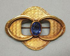 Late Victorian Sash Pin Brooch Textured Metal Blue Glass Stone Large