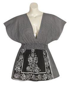 Plus Size Back In Black Kimono Top -- Size:2x Color:Black Blue Plate. $34.99
