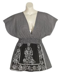 Plus Size Back In Black Kimono Top -- Size:2x Color:Black Blue Plate. $34.99. Save 22%!