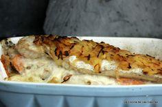 Merluza del Cantábrico Rellena de Salmón Ahumado y Queso con Patatas Panadera