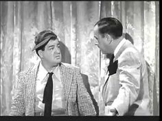 """Bud Abbott & Lou Costello perform the classic """"Who's On First"""" comedy routine on """"The Actors' Home"""" episode of The Abbott and Costello Show in Whos On First, Comedy Duos, Great Comedies, Abbott And Costello, Interview, Classic Tv, Old Movies, Just For Laughs, Old Hollywood"""