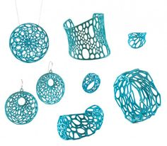 turquoise 3d-printed jewelry by Nervous System