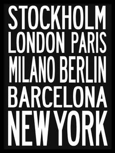 CITY, posterit. Kaupunkiaiheinen taulu. Siisti juliste, jossa lempikaupunkejamme. Kehykset eivät sisälly hintaan.