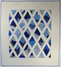 Blue and White Diamond Crib Quilt by Peppermint Pinwheels, via Flickr