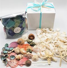 """Seashell and sea glass gift box. These coastal charm ready made gift boxes are perfect for those occasions where you need just a little """"something"""".  Use for hostess gifts, teacher gifts, the mailman, the principal, secret Santa, the holiday family gift exchange. They come in two sizes and budgets, so one is perfect for every need!"""