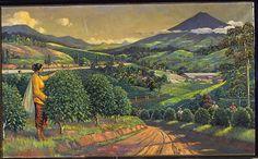 Olieverfschildering voorstellend een theeplantage met pluksters door L. J. Eland
